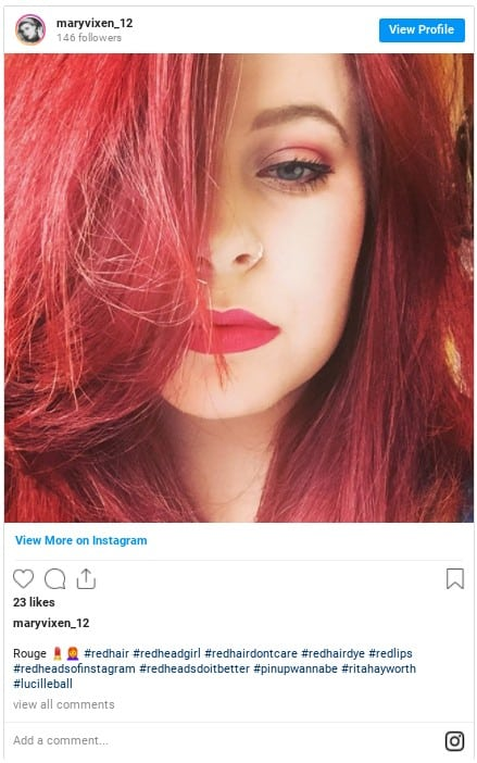 bright red hair color instagram