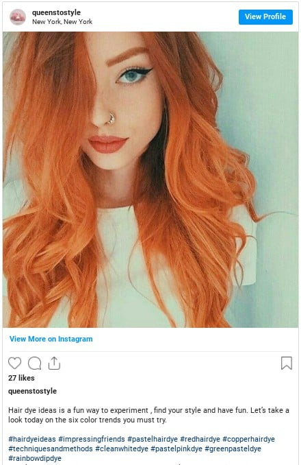 copper red hair color instagram
