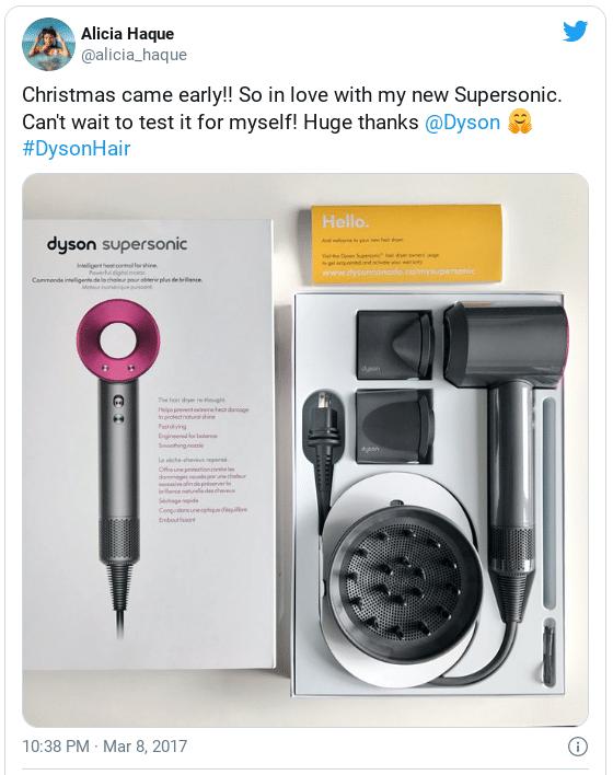 Supersonic hair dryer unbox tweet