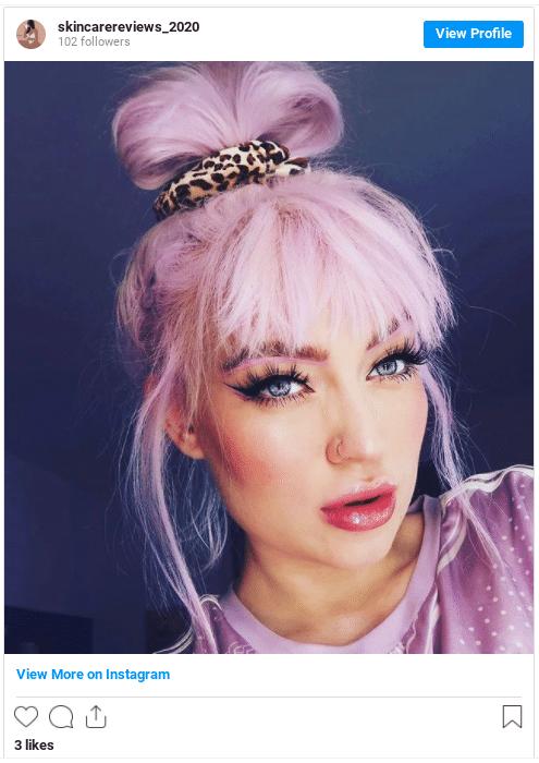 pink hair instagram post