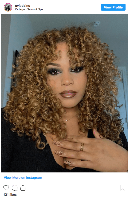 rich honey blonde color curly hair instagram