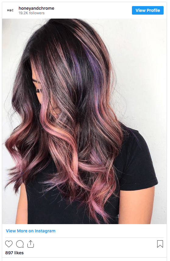 black hair with pink highlights instagram post