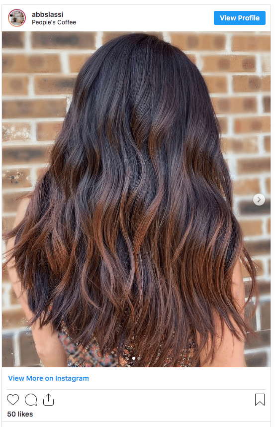 black hair with copper highlights instagram post