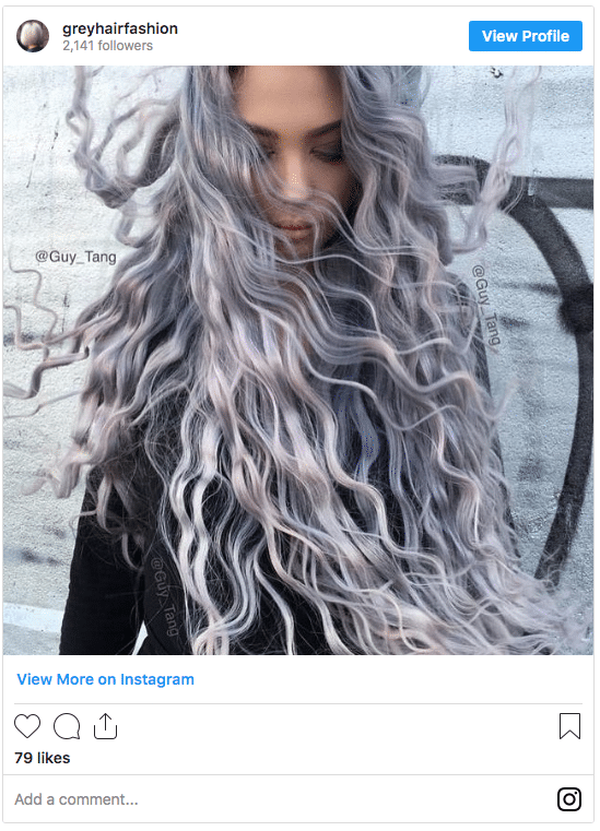 younger girl with grey hair instagram post