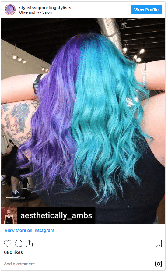 half and half hair blue and purple Instagram post