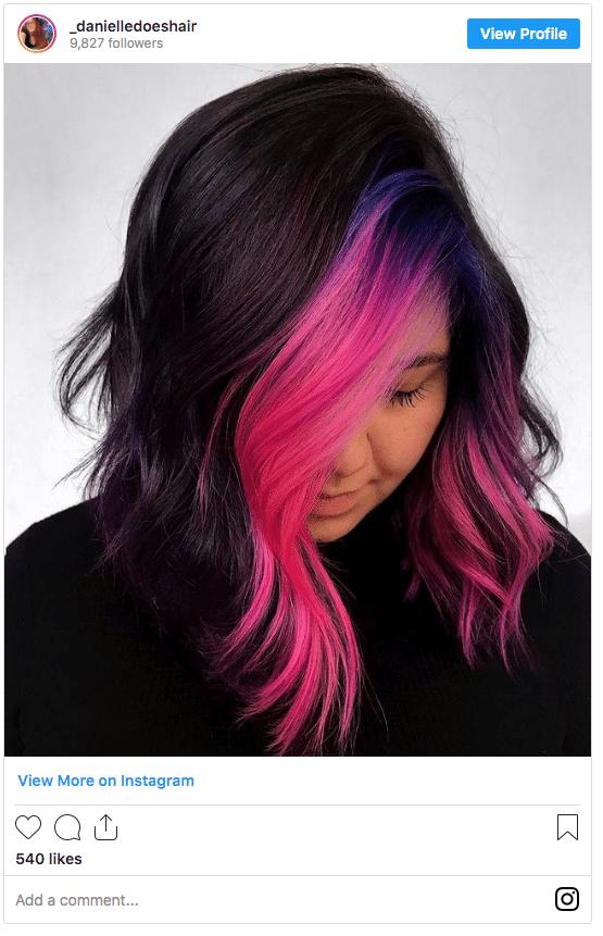 hair streaks hairstyle instagram post
