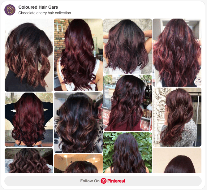 chocolate cherry hair color collection pinterest board