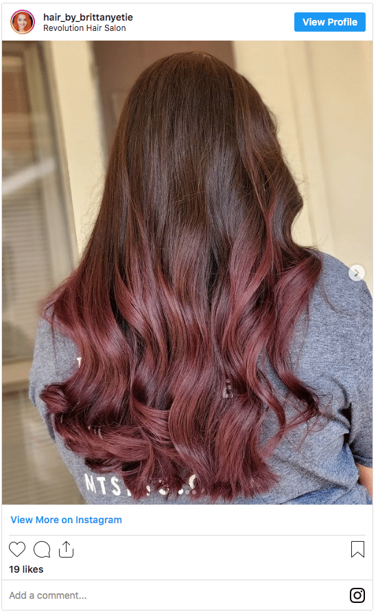 chocolate cherry hair color instagram post 2