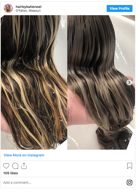 What does toner do to hair instagram demonstration post 1