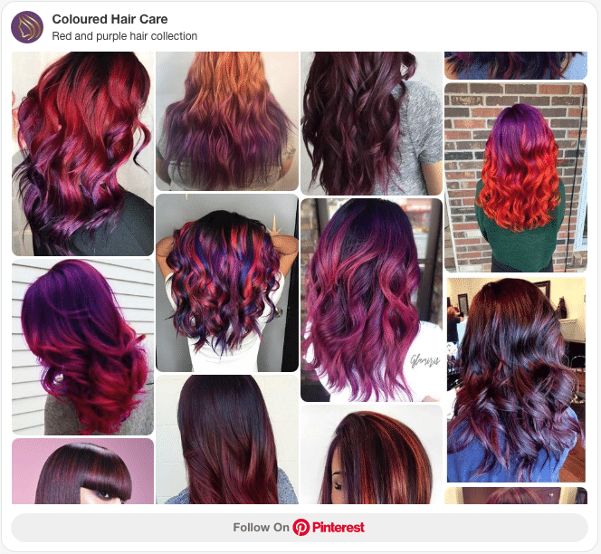 red and purple hair colour collection pinterest board