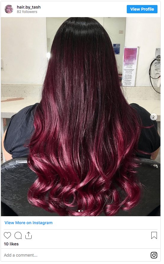 red and purple hair color ombre
