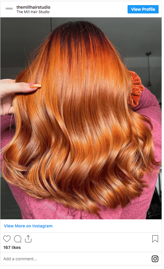 copper fall hair color instagram post
