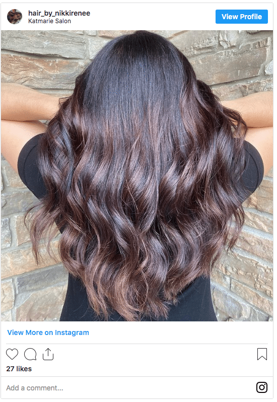 chocolate hair color fall instagram post