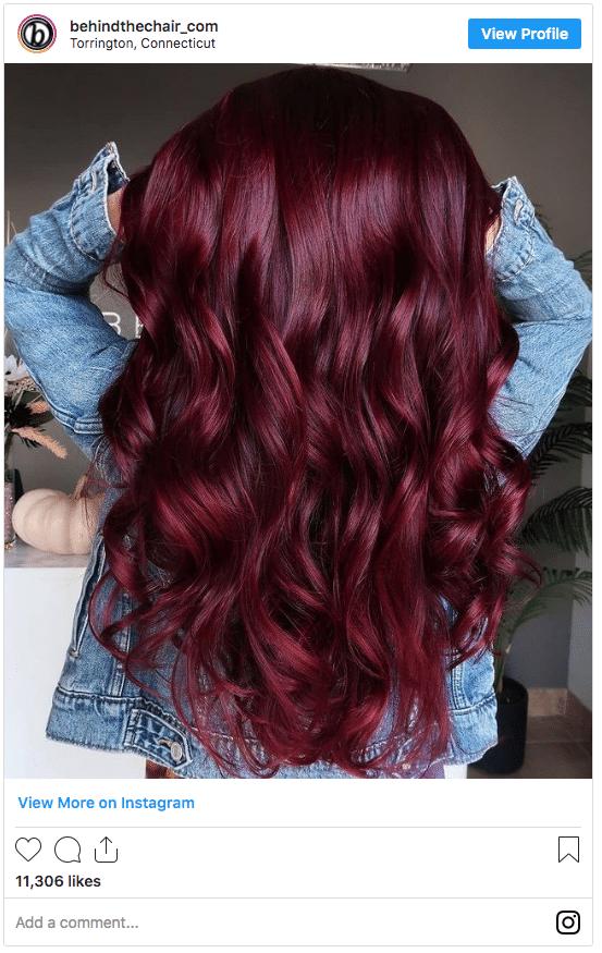 wine maroon hair color instagram post