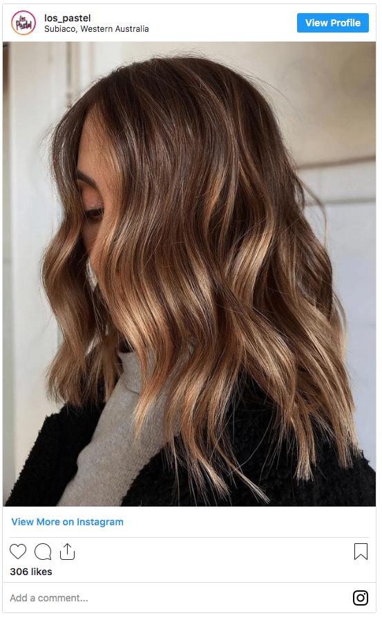 caramel hair color instagram post