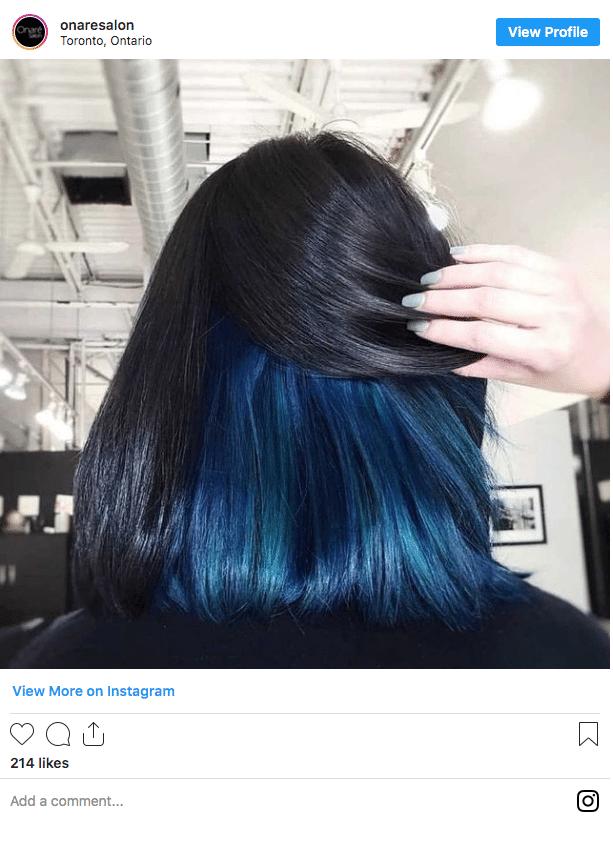 underneath hair color black and blue peekaboo hair instagram