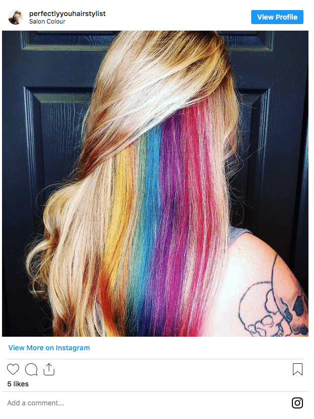 underneath hair color rainbow peekaboo hair instagram post
