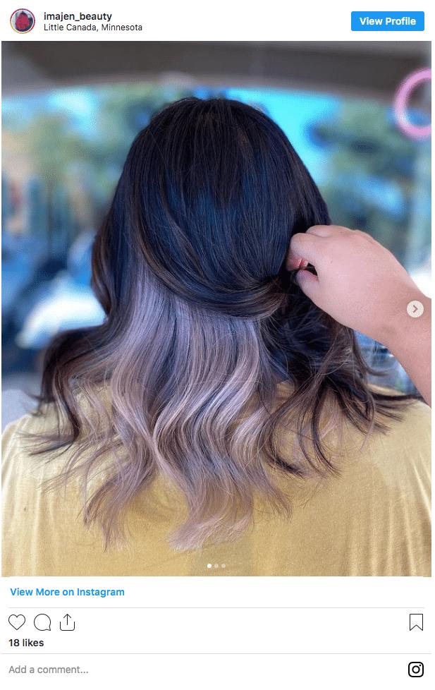 underneath hair color peekaboo hair instagram post