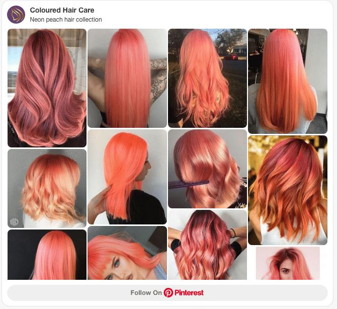 neon peach hair colour pinterest board