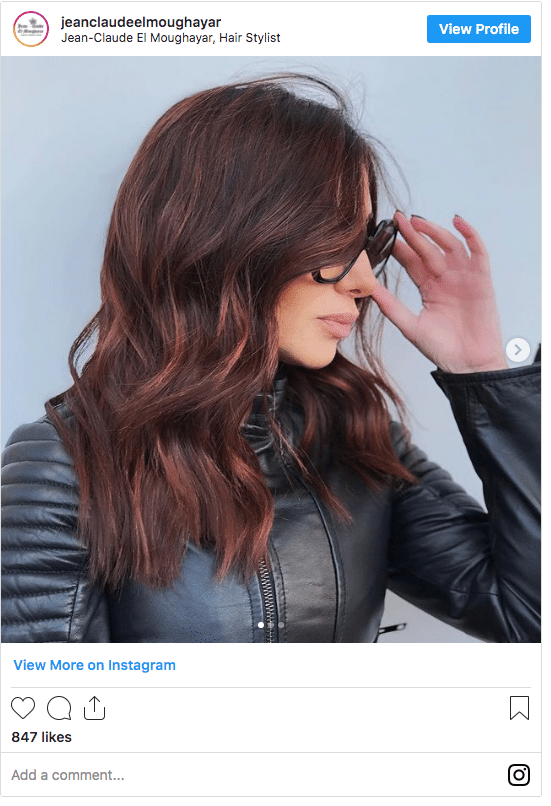 mahogany color red tips instagram