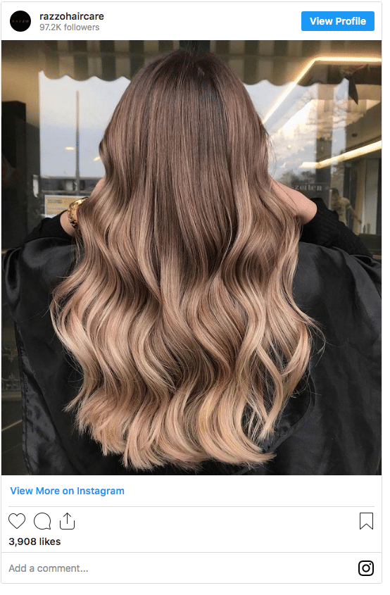 light brown and blonde balayage instagram post